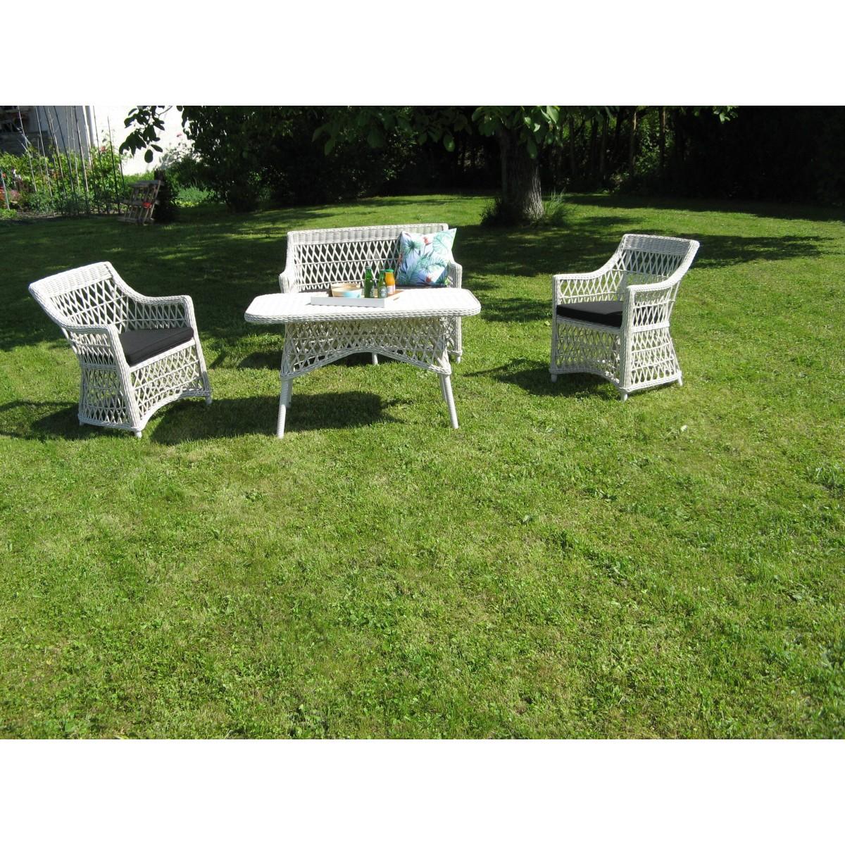 Salon sligo en r sine blanche et aluminium sp cial ext rieur - Salon exterieur blanc ...