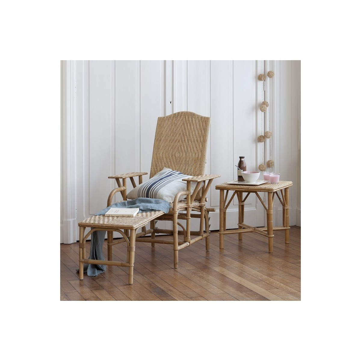 Chaise longue en rotin naturel - Chaise longue de salon ...