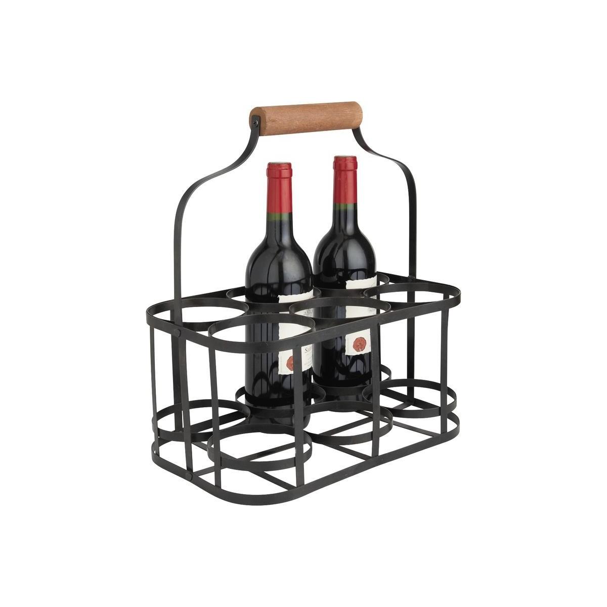 panier 6 bouteilles en m tal retro. Black Bedroom Furniture Sets. Home Design Ideas