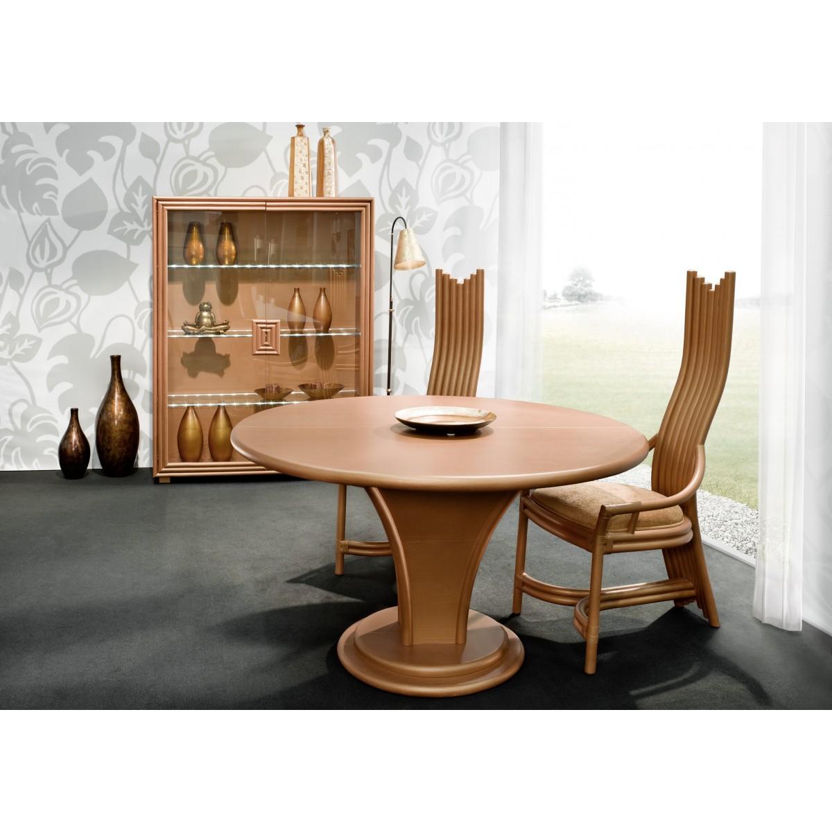 Table manger en rotin cronde avec allonge int gr e for Table ronde en rotin