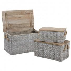 Malle en rotin et couvercle bois grand modèle
