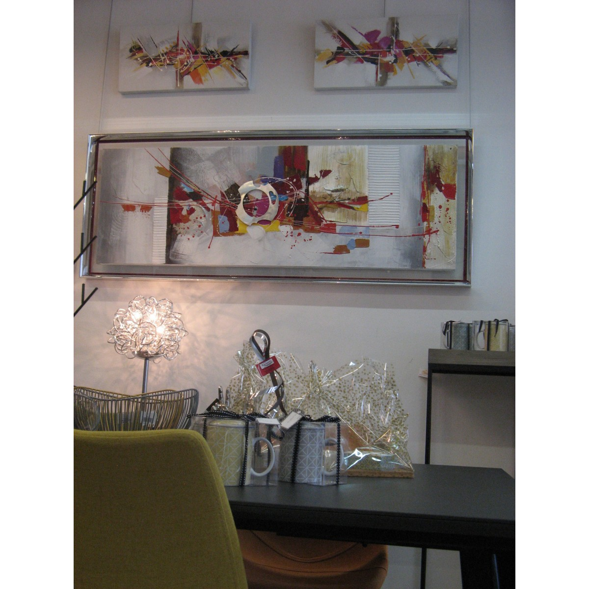 100 tableau decoration abstrait promotion shop tableau peinture rose mauve violet blanc for Peinture murale argentee