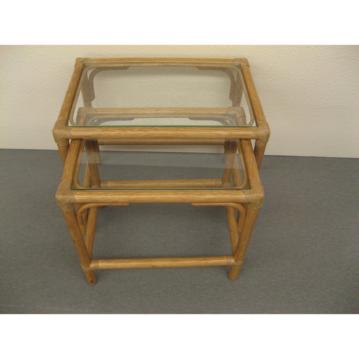 table gigogne en rotin naturel. Black Bedroom Furniture Sets. Home Design Ideas