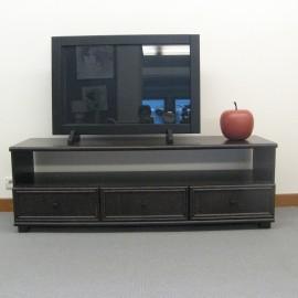 Meuble televison en bois rotin ch ne c ramique verre for Meuble tv en solde