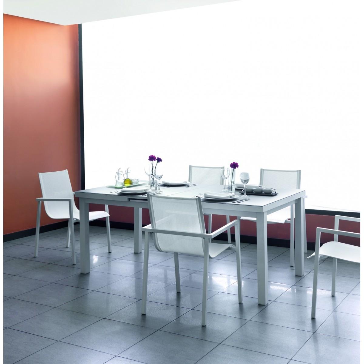 Table de repas en aluminium et verre sp cial ext rieur en for Table en aluminium exterieur