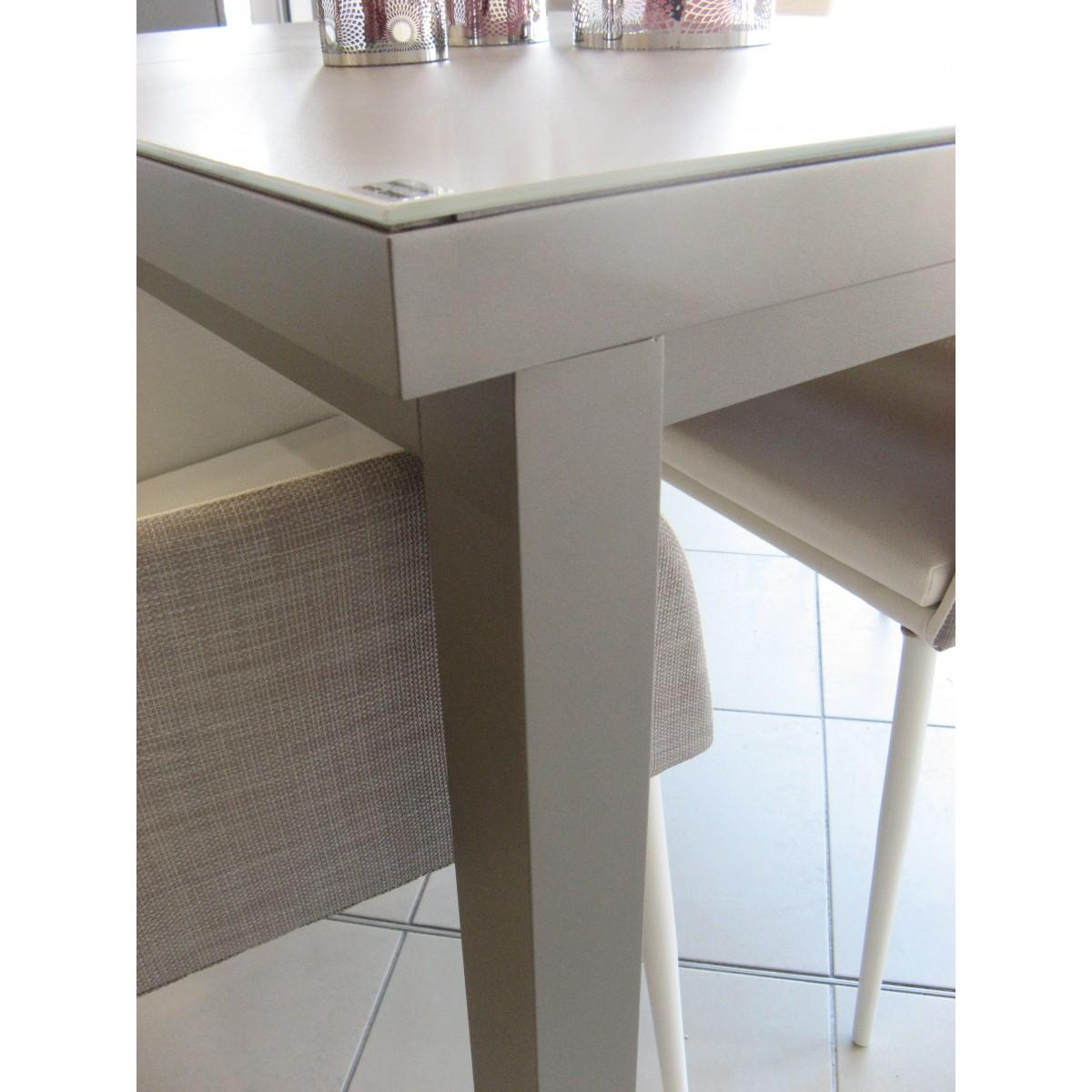 Table de repas en aluminium et verre sp cial ext rieur en for Table exterieur aluminium anodise