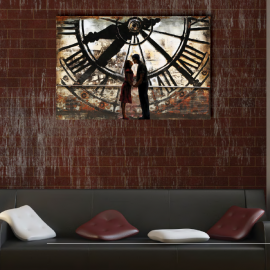 D coration murale en m tal horloge de gare for Horloge murale de gare