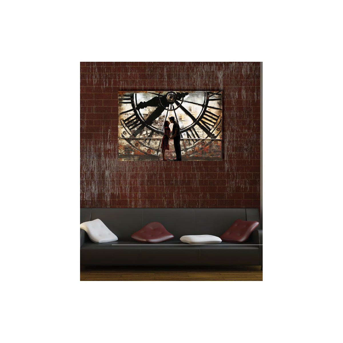 d coration murale en m tal horloge de gare. Black Bedroom Furniture Sets. Home Design Ideas