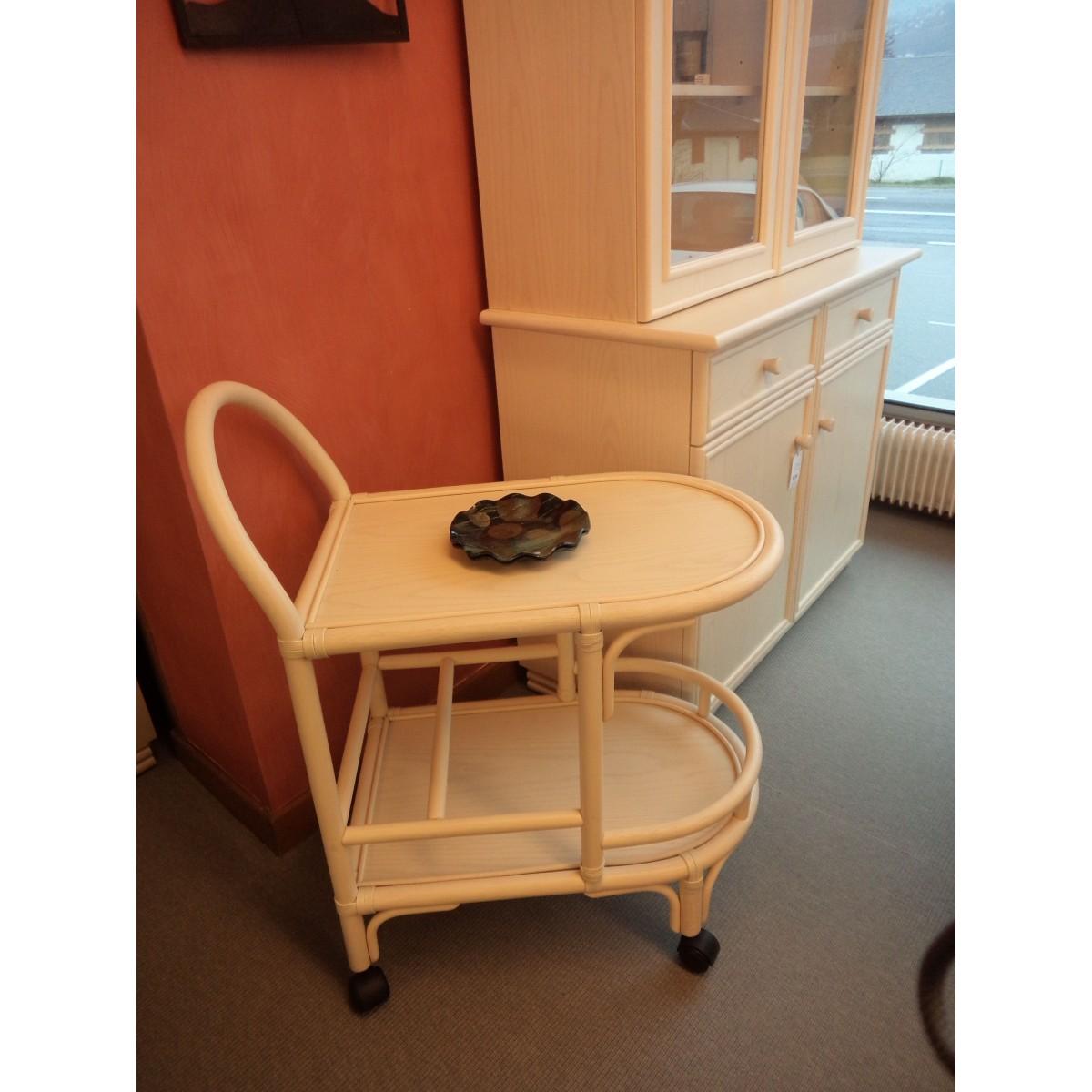 table roulante desserte de table en rotin coloris ivoire. Black Bedroom Furniture Sets. Home Design Ideas
