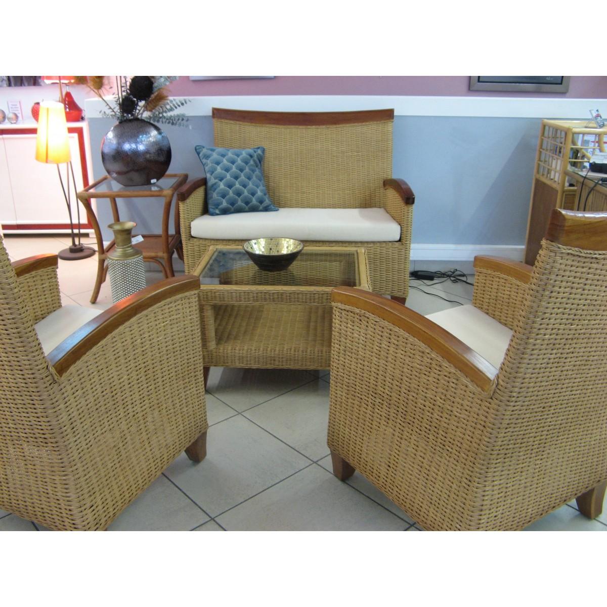 Salon En Rotin En Moelle De Rotin - Canape et 2 fauteuils