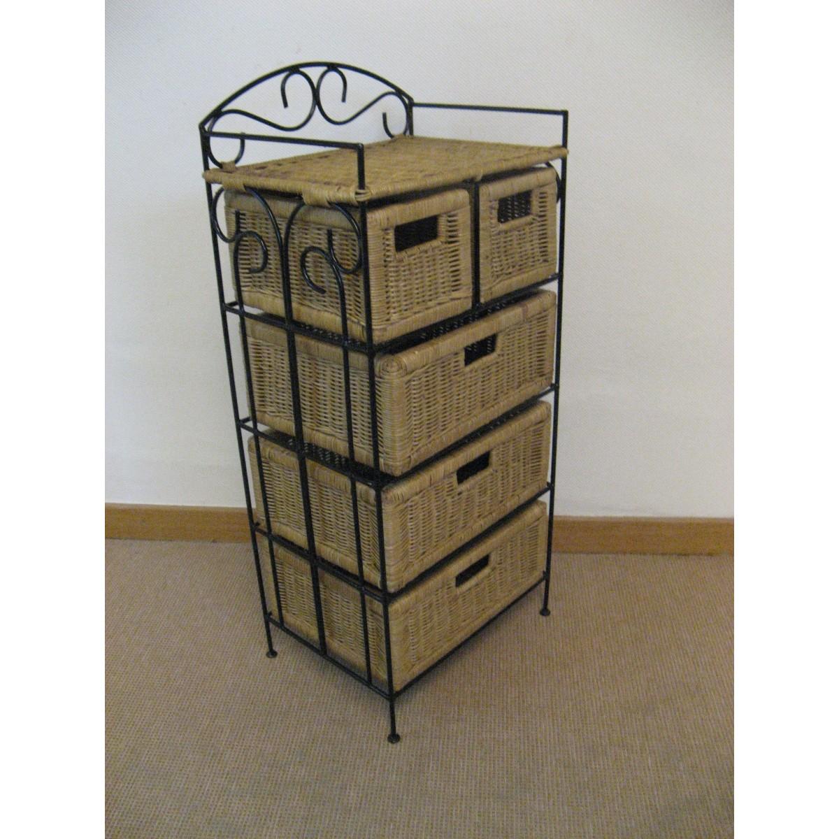 Petit meuble de rangement 5 tiroirs en rotin for Meuble 5 tiroirs