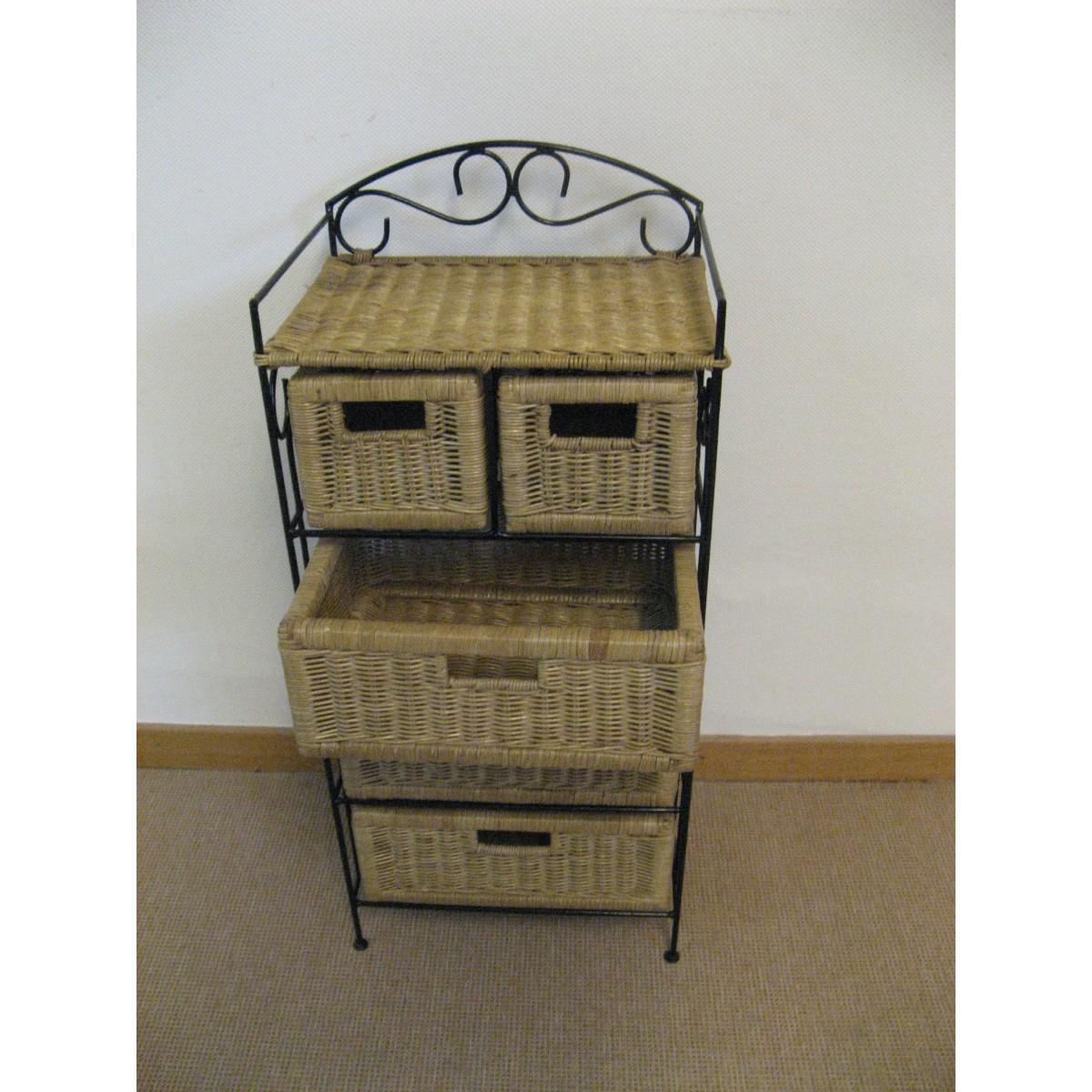 Petit meuble de rangement 5 tiroirs en rotin for Petit rangement tiroir