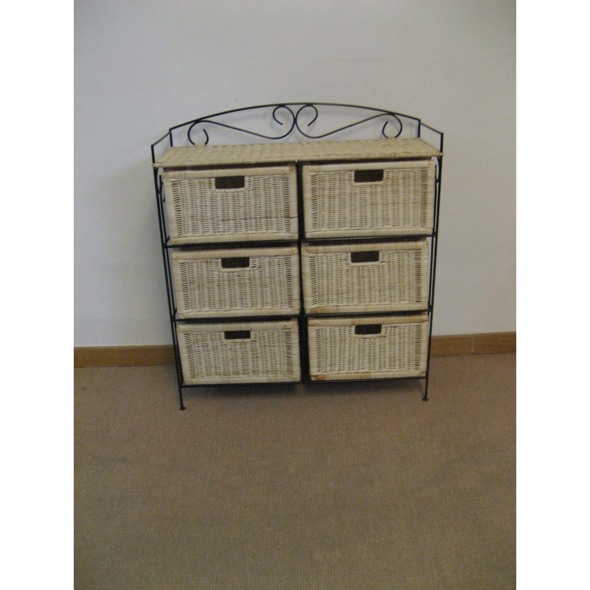 petit meuble de rangement 6 tiroirs en rotin. Black Bedroom Furniture Sets. Home Design Ideas