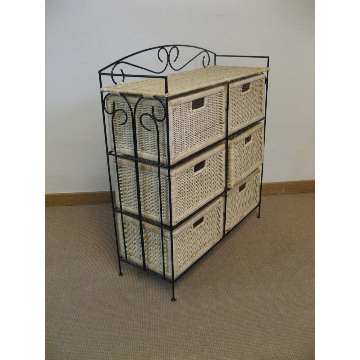 Petit meuble de rangement 6 tiroirs en rotin for Petit meuble de rangement a tiroirs