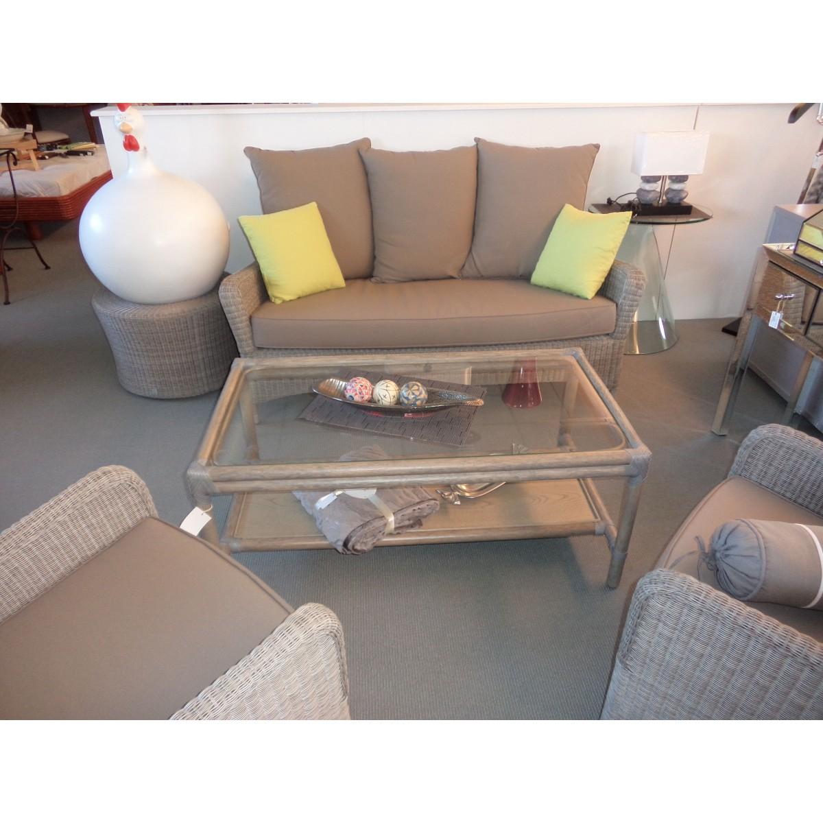 table basse en rotin monaco rectangulaire coloris gris. Black Bedroom Furniture Sets. Home Design Ideas