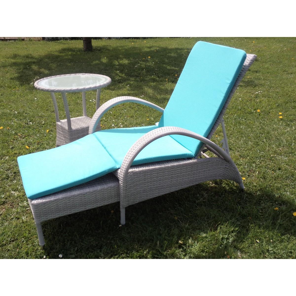 Chaise longue en aluminium et r sine grise sp cial ext rieur - Fauteuil exterieur resine ...