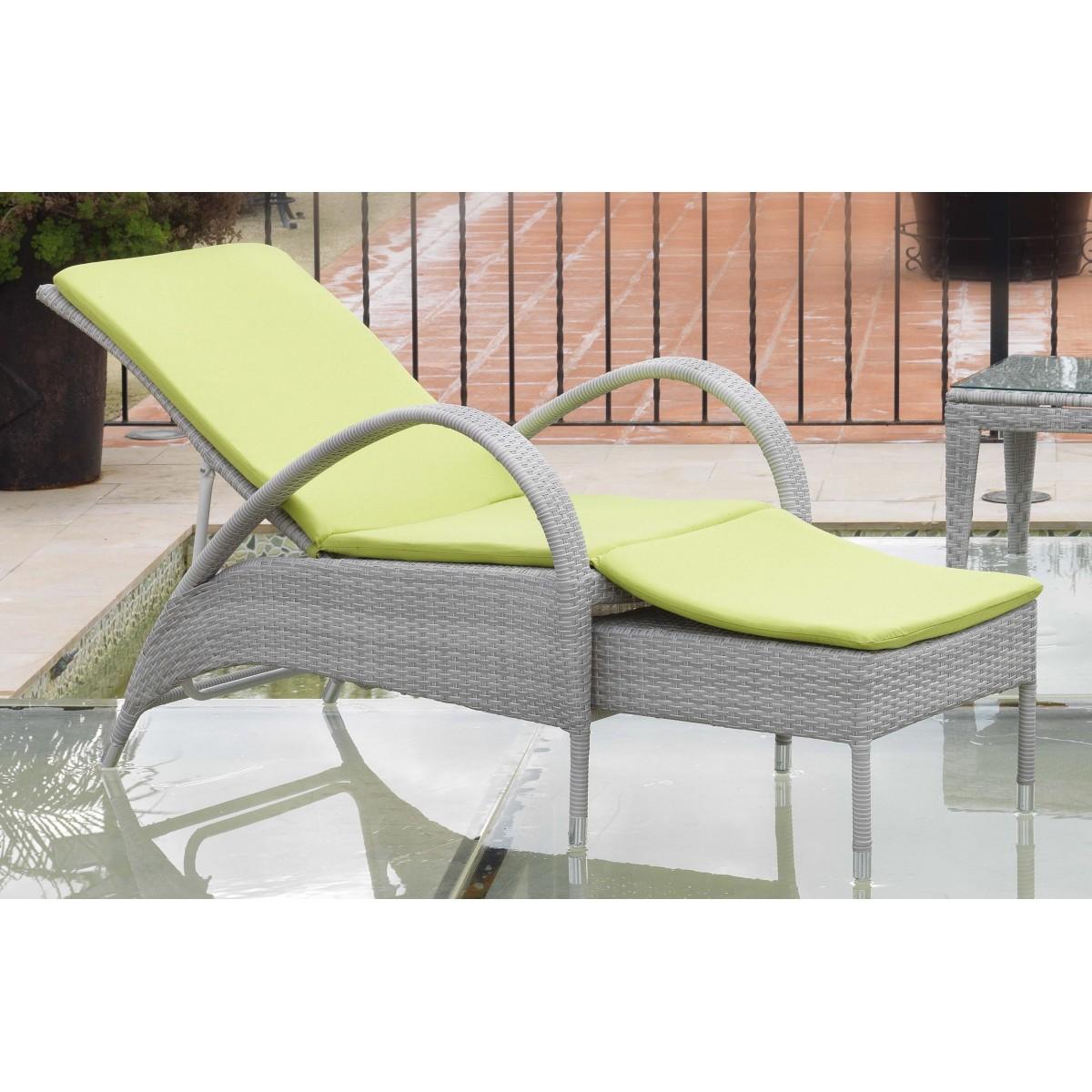 Chaise longue en aluminium et r sine grise sp cial ext rieur - Chaise longue en resine ...