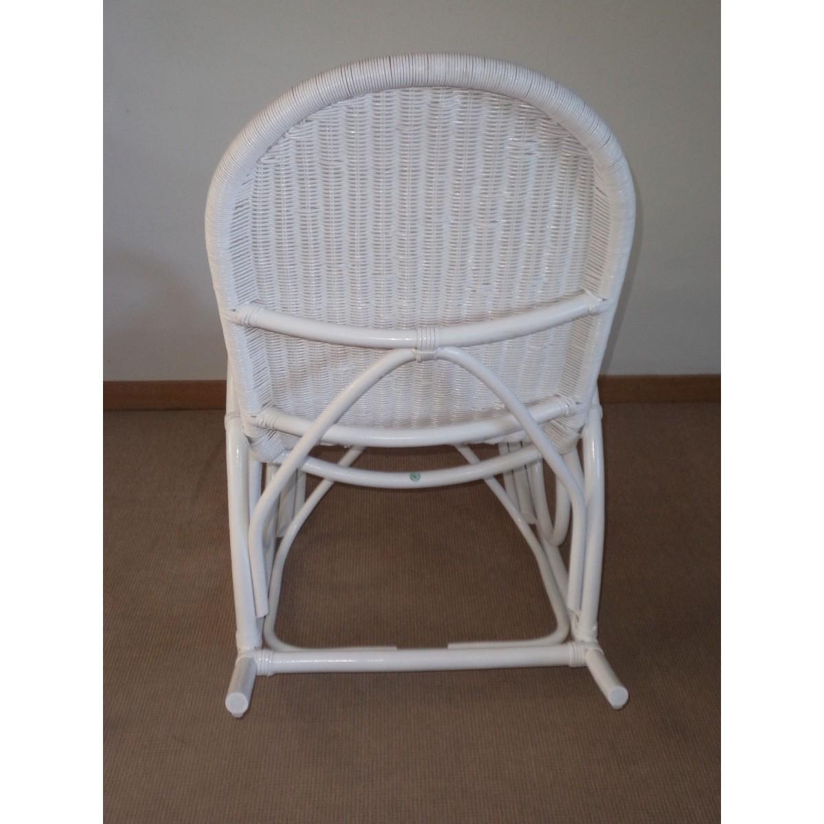 Rocking chair en rotin coloris blanc laqu - Rocking chair blanc conforama ...