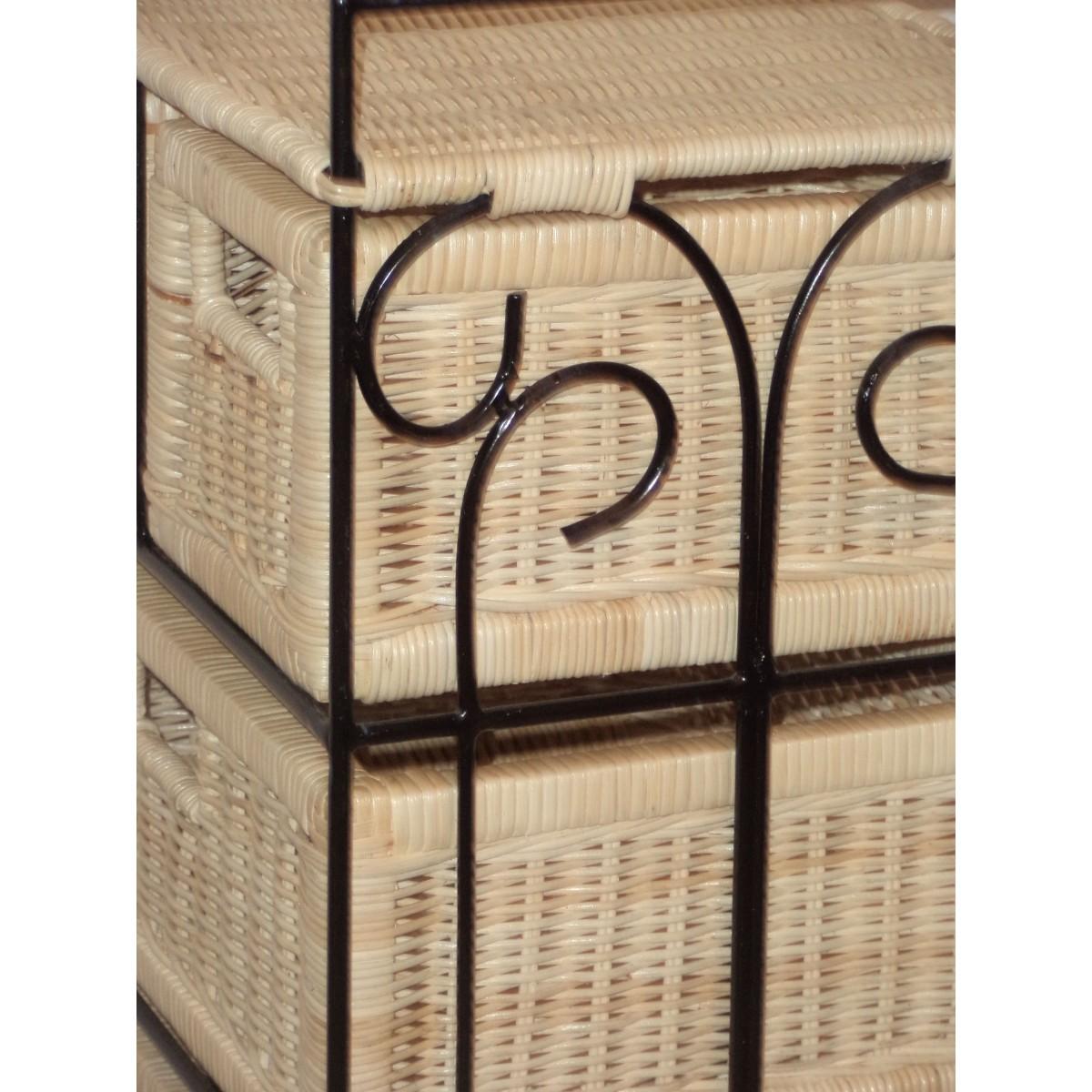 Petit meuble de rangement 5 tiroirs en rotin for Petits rangements