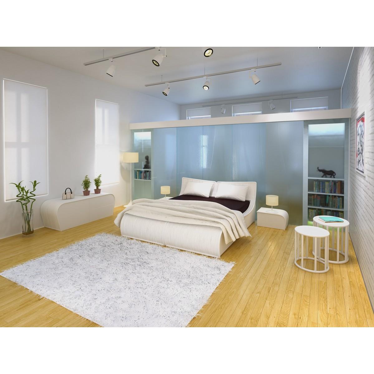 lit en rotin nui et filet de rotin. Black Bedroom Furniture Sets. Home Design Ideas