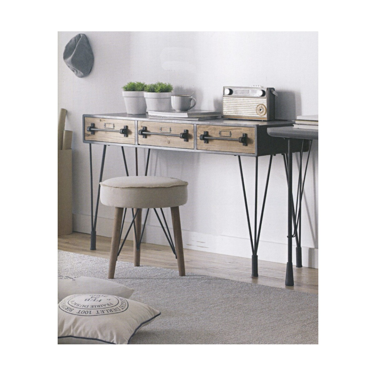 console bureau industriel bois et m tal. Black Bedroom Furniture Sets. Home Design Ideas