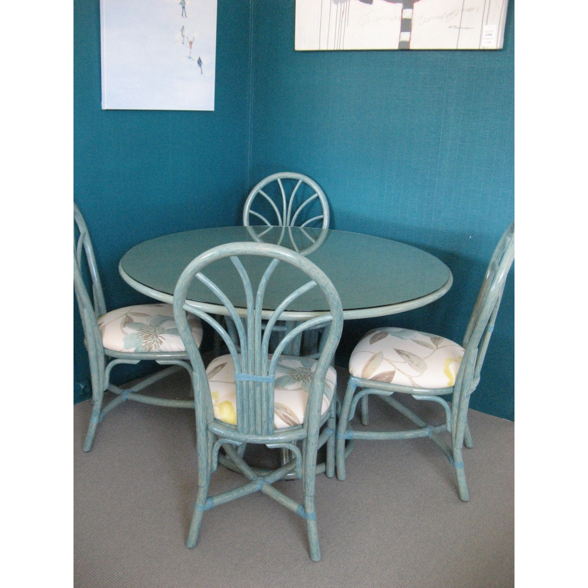 Table Taill rotin bleue