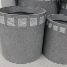 Cache Pot en Zinc Blanchi