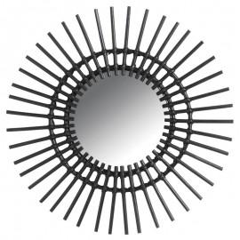Miroir Soleil Rotin Noir