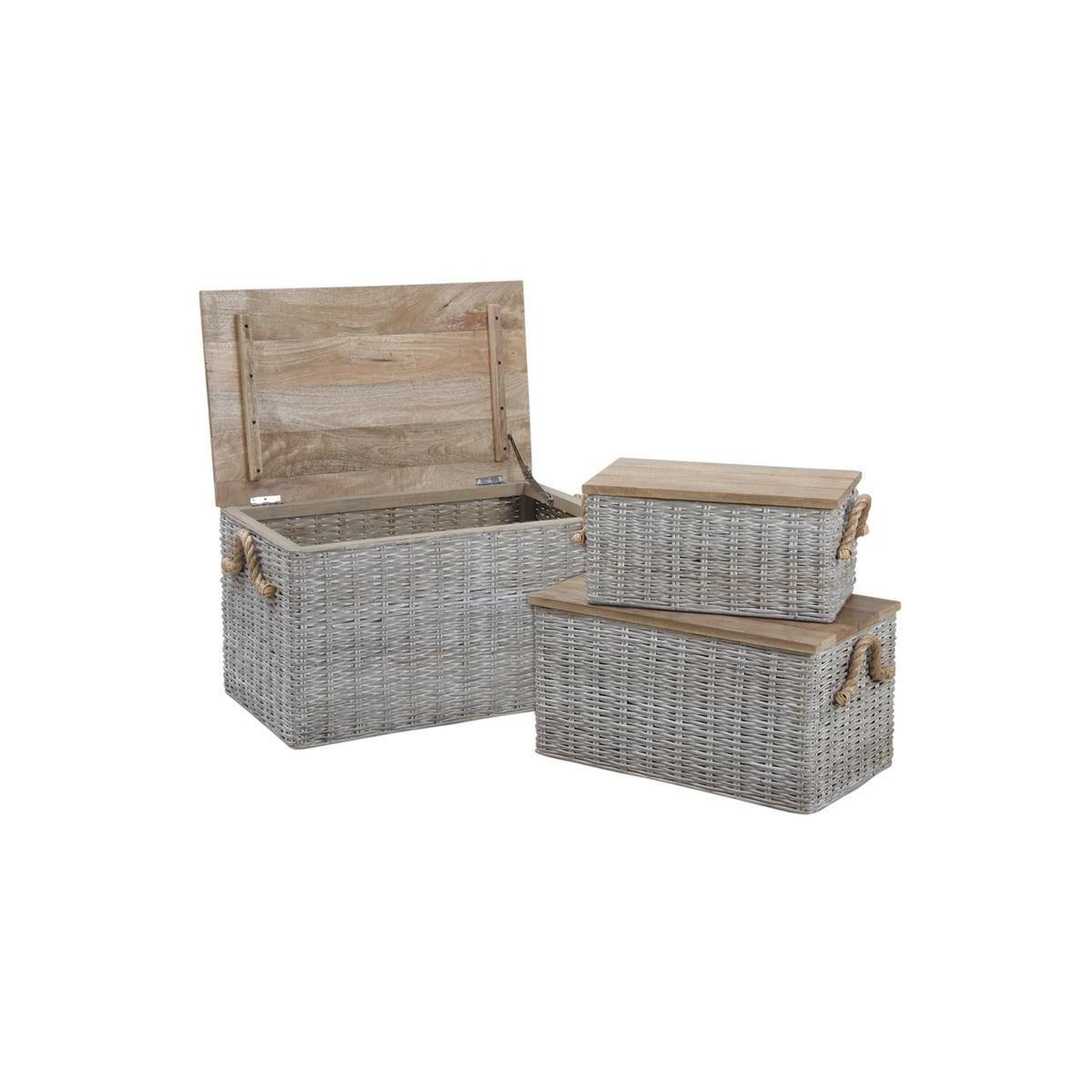 coffre en osier avec couvercle. Black Bedroom Furniture Sets. Home Design Ideas