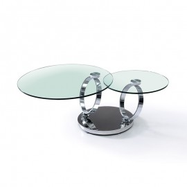 Table Basse Evolutive plateaux verre Transparent