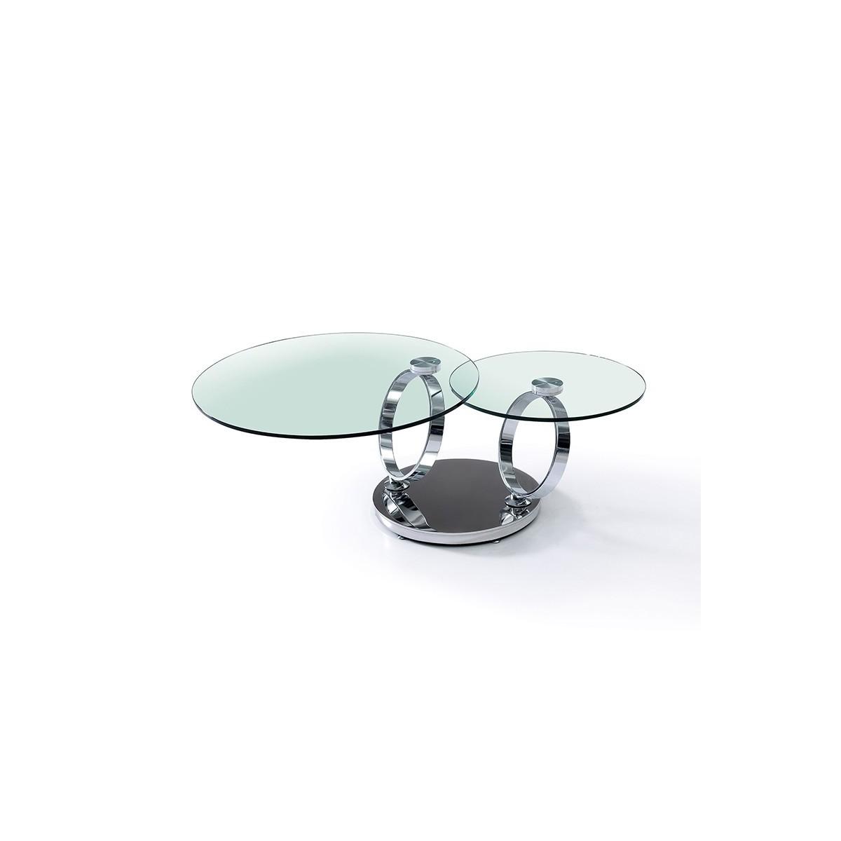Table Basse Evolutive plateaux verre Transparent