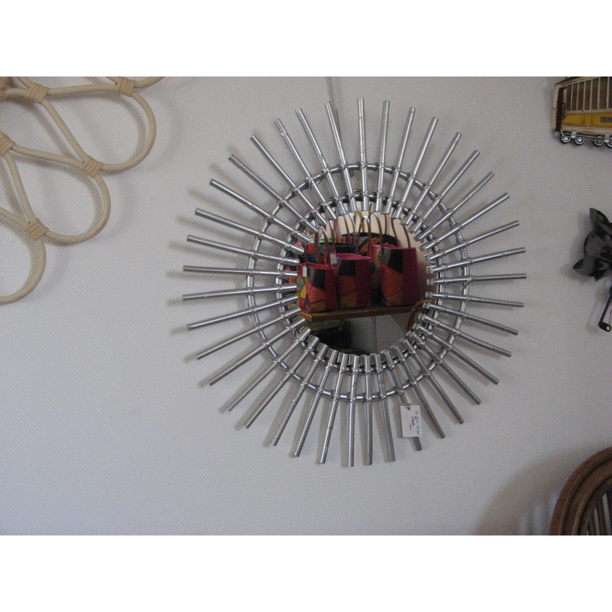 Miroir Soleil Rotin Argent