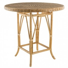 Table Grand Père Rotin Patiné Diamètre 80 cm