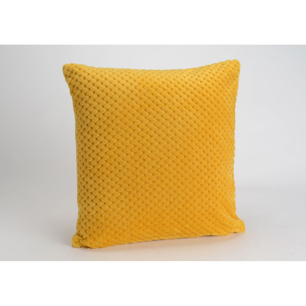 coussin damier moutarde