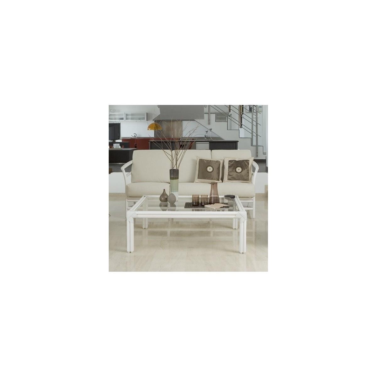 Table Basse Carrée Bois : Table basse en rotin carrée
