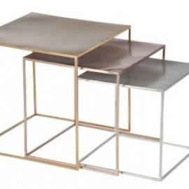 Serie de 3 Tables Gigogne Cuivre, or et Argent