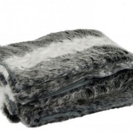 Plaid imitation Fourrure 130x180 Gris Noir Blanc