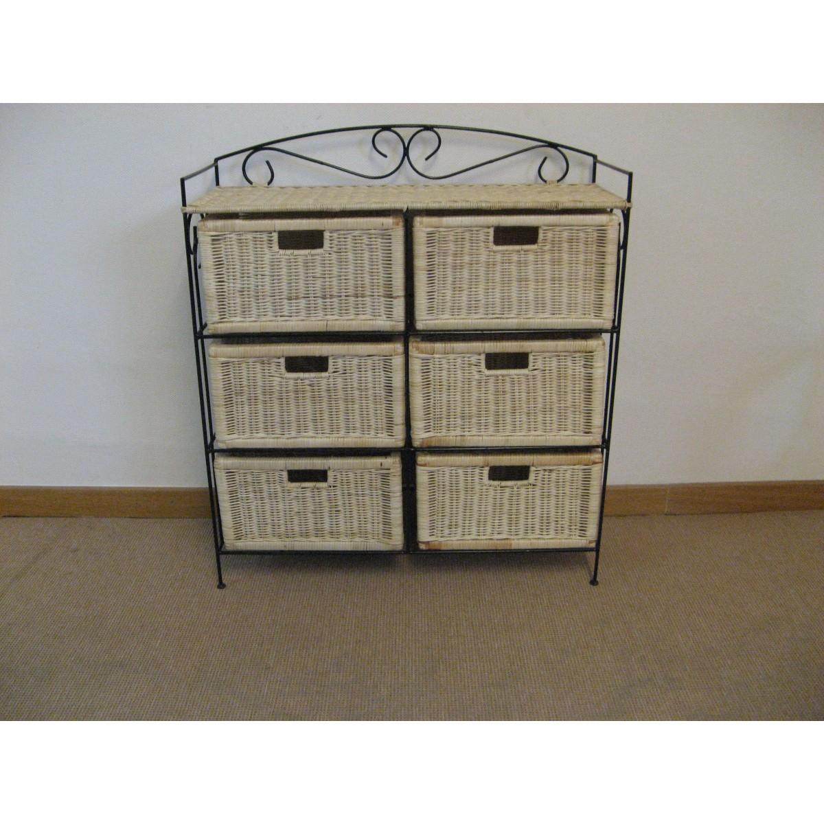 petit meuble de rangement 6 tiroirs en rotin
