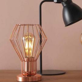 Lampe graphique en métal filaire cuivré