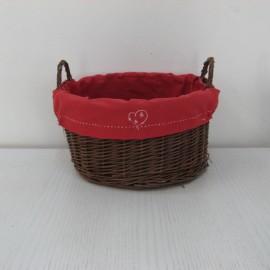 Corbeille osier avec tissus rouge 30x30
