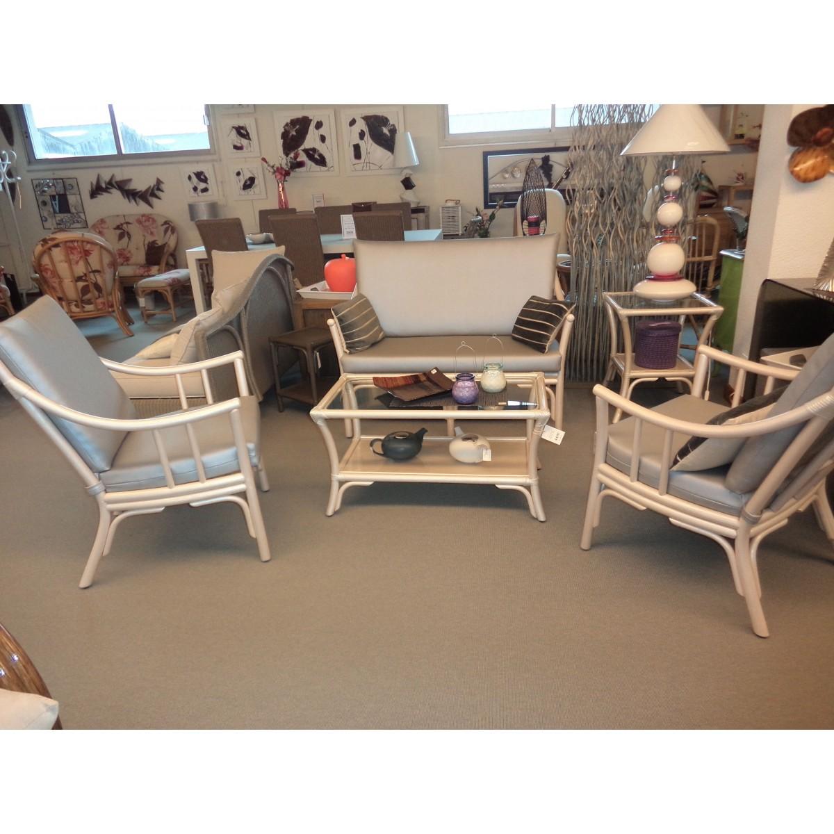 Salon en rotin coloris nacre bas dossier comprenant un canap 2 places et 2 fauteuils - Magasin de meuble en rotin ...