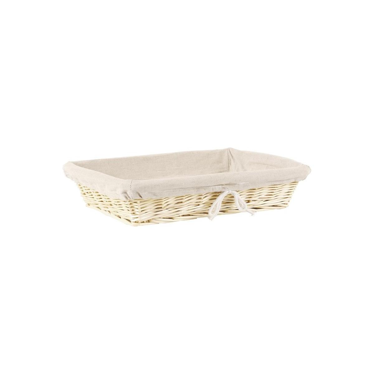 Corbeille en osier blanc et toile de jute 40x30