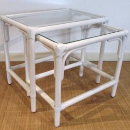 Tables Gigognes Rectangulaire en Rotin Blanc