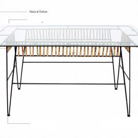 Table Bukhara Rotin, Métal et Verre 160x90