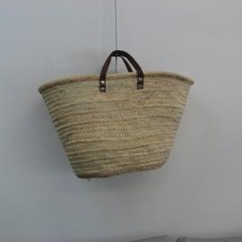 Cabas en palmier avec anses en cuir 54x33