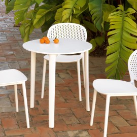 Table 3 Pieds Malta @ 70 cm en Résine Blanche spécial extérieur