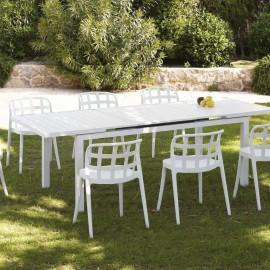 Table Nerja 180/240 en Aluminium blanc avec allonge
