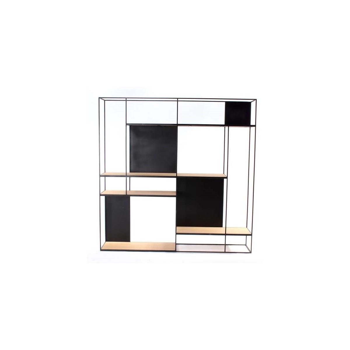 Etagère Rubic 180x180 en Métal noir et Chêne Naturel