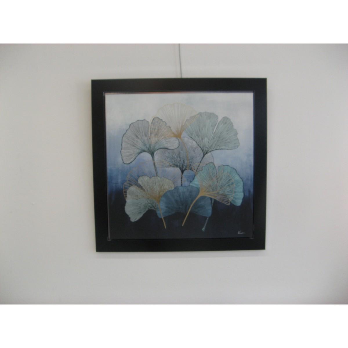 Tableau Fleurs Gingko Bleues 1