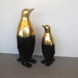Statue Pingouin Noir et Or H.60cm